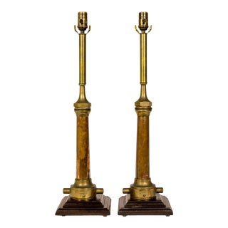 Copper & Brass Victorian Fire Hose Nozzle Lamps (Pair) For Sale