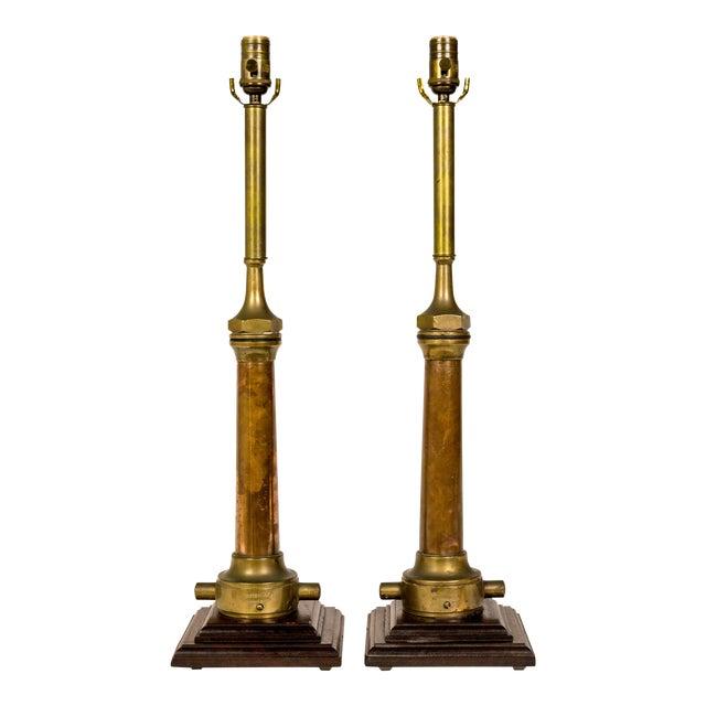 Copper & Brass Victorian Fire Hose Nozzle Lamps (Pair) For Sale