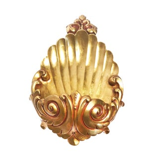 1960's Hollywood Regency Gold Shell Wall Planter