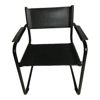 1990s Vintage Italian Design Black Leather Tubular Chair For Sale