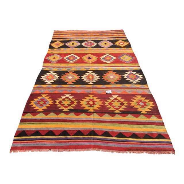 Vintage Aztec Kilim Rug For Sale