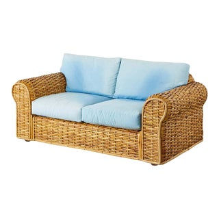 Ralph Lauren Woven Rattan Settee With Blue Ombre Upholstery For Sale