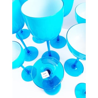 Vintage Carlo Moretti Turquoise Blue Set of 13 Glasses - Set of 13 Preview