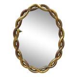 Image of Vintage Hollywood Regency Gold Woven Interlocking Pretzel Ribbon Oval Mirror For Sale