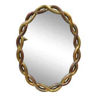 Vintage Hollywood Regency Gold Woven Interlocking Pretzel Ribbon Oval Mirror For Sale
