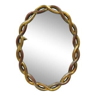 Vintage Hollywood Regency Gold Woven Interlocking Pretzel Ribbon Oval Mirror For Sale