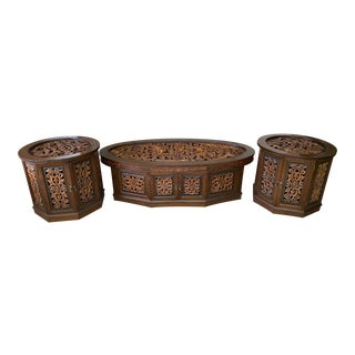 1970s Oriental Carved Wood and Glass Coffee Table and Side Table Set - 3 Pieces For Sale