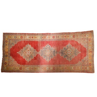 "Vintage Distressed Oushak Rug Runner - 5' X 10'9"" For Sale"