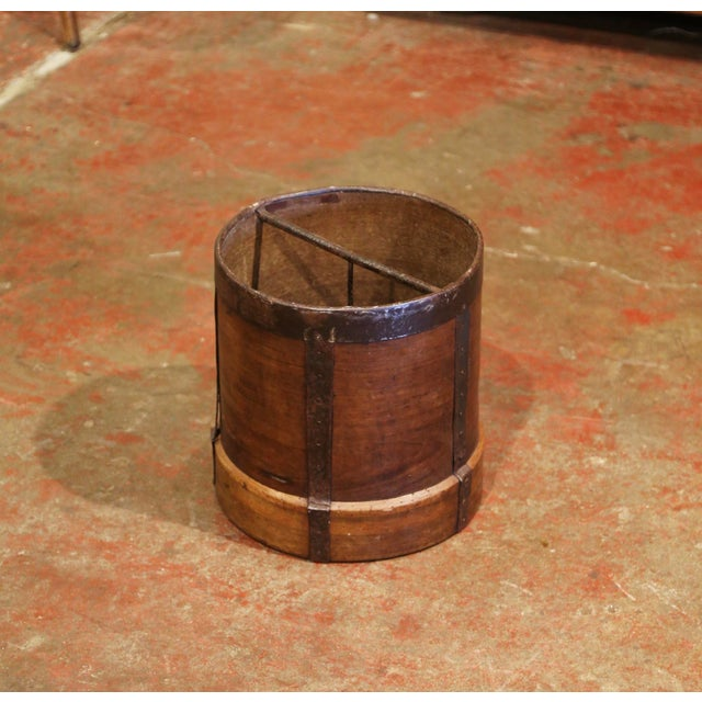 19th Century French Walnut and Iron Grain Measure Bucket or Waste Basket For Sale - Image 10 of 10
