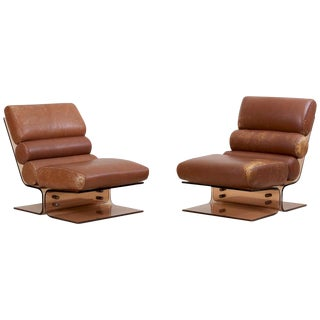 Pair of Space Age Lounge Chairs in Lucite and Leather, 1960s For Sale