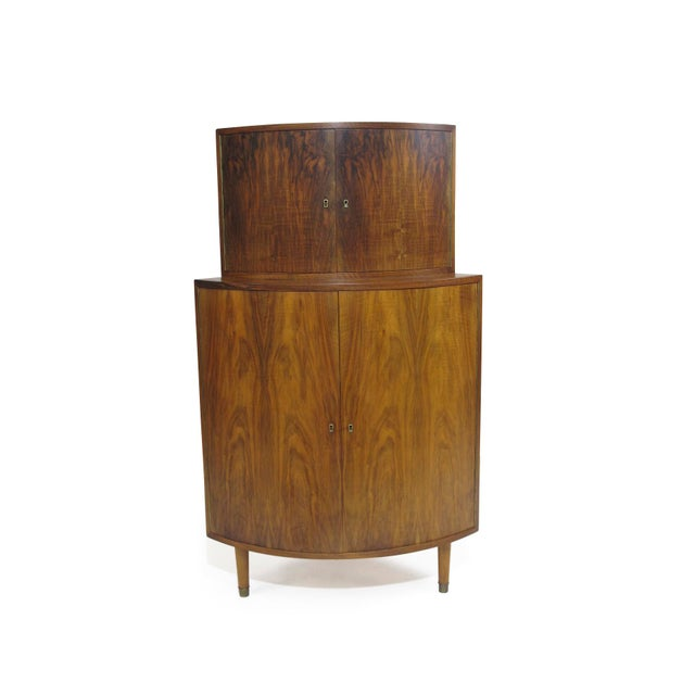 Danish Modern Rounded Front 1940's Corner Cabinet For Sale - Image 3 of 5