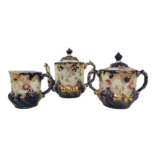 Antique French Gold & Cobalt Tea Service - Set of 3 For Sale
