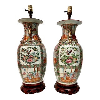 Late 19th Century Rose Canton Famille Rose Porcelain Lamps - A Pair For Sale