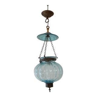 Petit Belgium Aqua Blue Blown Glass Lantern 1890's Chandelier For Sale