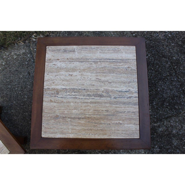 Townsend Manufacturing Co. Dark Travertine End Tables - A Pair For Sale - Image 5 of 13