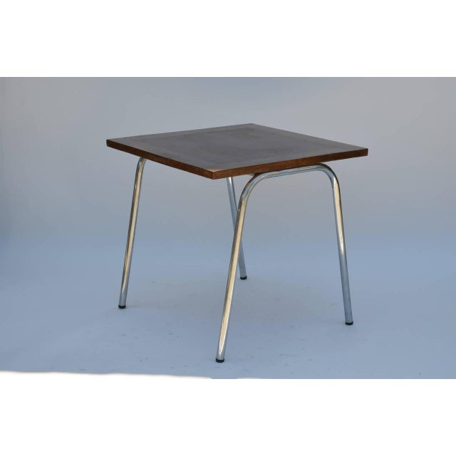 Industrial Set of Four French Modernist Square Chrome and Mahogany Tables For Sale - Image 3 of 6