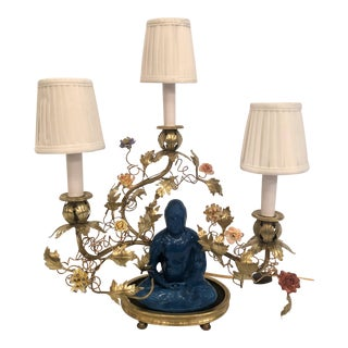 Antique Chinoiserie Porcelain Buddha Lamp With Saxe Flowers, Circa 1890. For Sale