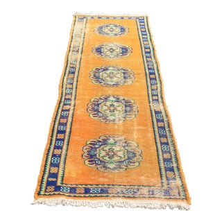 "Vintage Turkish Handwoven Area Carpet - 2'11"" x 8'4"""