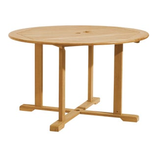 Teak Round Outdoor Dining Table, Natural For Sale