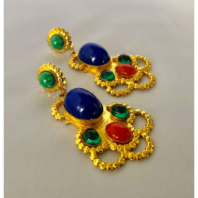 Gold Egyptian Revival Ornate Statement Earrings For Sale - Image 4 of 7