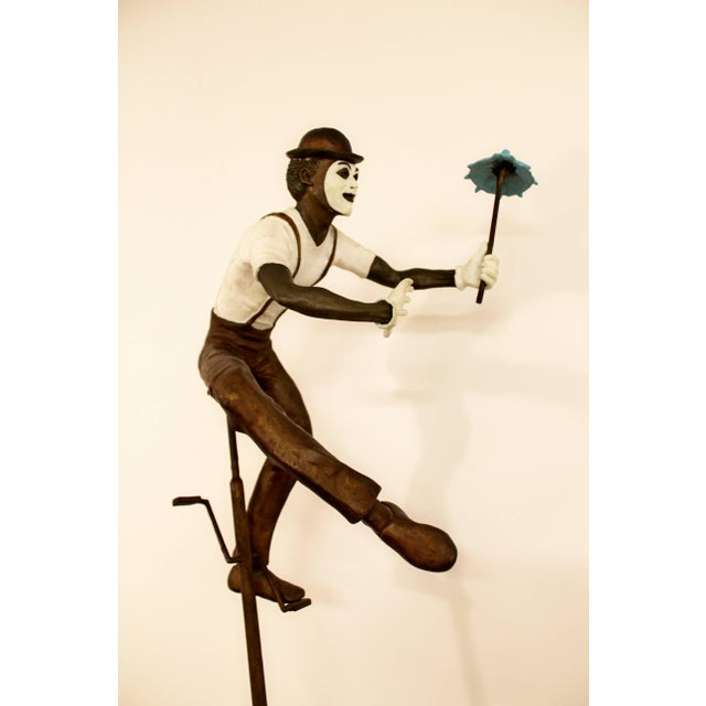 Contemporary Jerry Soble Balancing Man Bronze Mime Sculpture, Signed, 1991 For Sale - Image 9 of 11