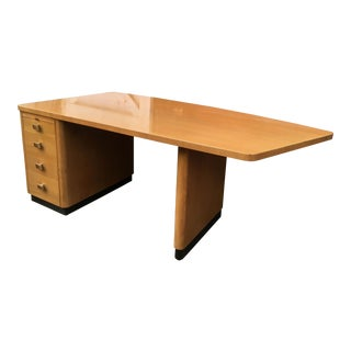 Vintage Mid Century Modern Blonde Walnut Curved Executive Desk For Sale