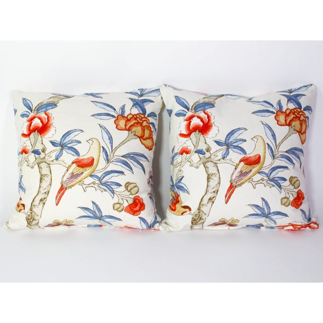 "Asian Custom Pillow Pair From Thibaut's ""Giselle"" Fabric For Sale - Image 3 of 7"