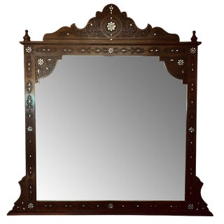 Moroccan Style Hand Carved With Mother of Pearl Inlaid Mirror For Sale