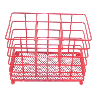 Red Wire Metal Toiletries Basket For Sale