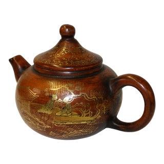 Chinese Zisha Clay Brown Golden Scenery Teapot Display