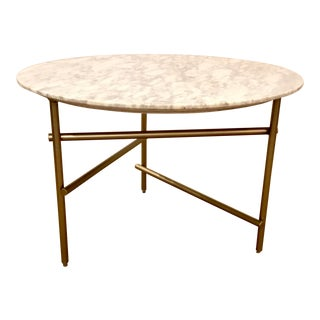 Caracole Modern Marble and Brass Finish Concentric Cocktail Table For Sale