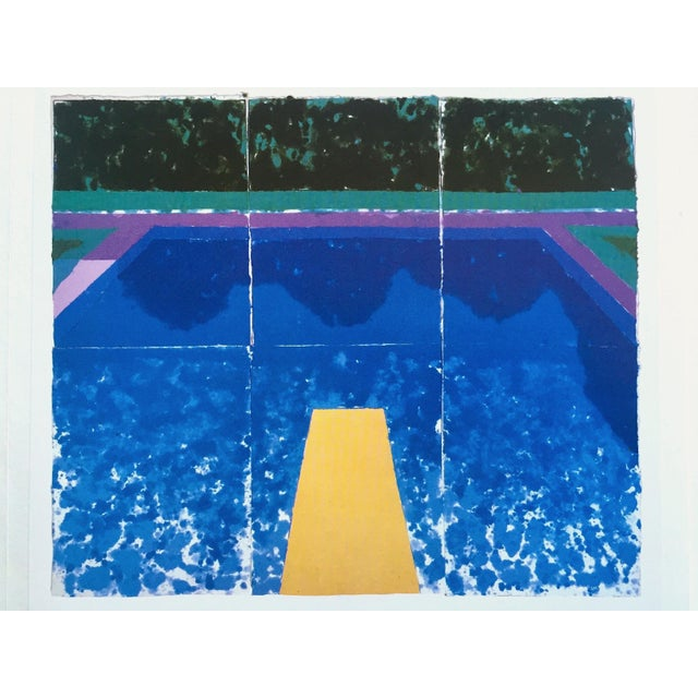 """David Hockney Vintage 1978 Rare Tyler Graphics Iconic Lithograph Print """" Day Pool With Three Blues ( Paper Pool #7 ) """" For Sale In Kansas City - Image 6 of 13"""