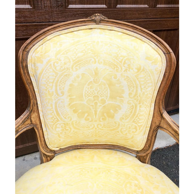 Fabric 19th Century Louis XV Fauteuil in Fortuny Fabric For Sale - Image 7 of 12