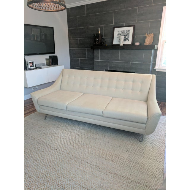 Almost new Joybird Aubrey Sofa Fabric: Dawson Pismo (W) Original base has been changed out for hairpin legs for an ultra-...