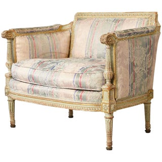 19th Century French Paint and Gild Decorated Bèrgere in the Style of Louis XVI For Sale