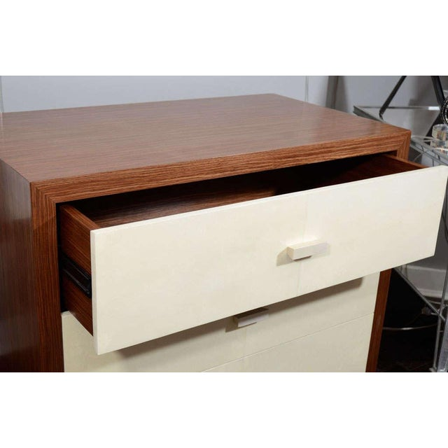Venfield Custom Parchment End Table with Walnut Wood Frame For Sale - Image 4 of 8