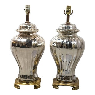 Asian Inspired Mercury Glass Ginger Jar Table Lamps - a Pair For Sale