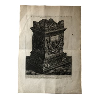 Etching of the Funerary Urn of Lucius Aurelius Terentus by Piranesi For Sale