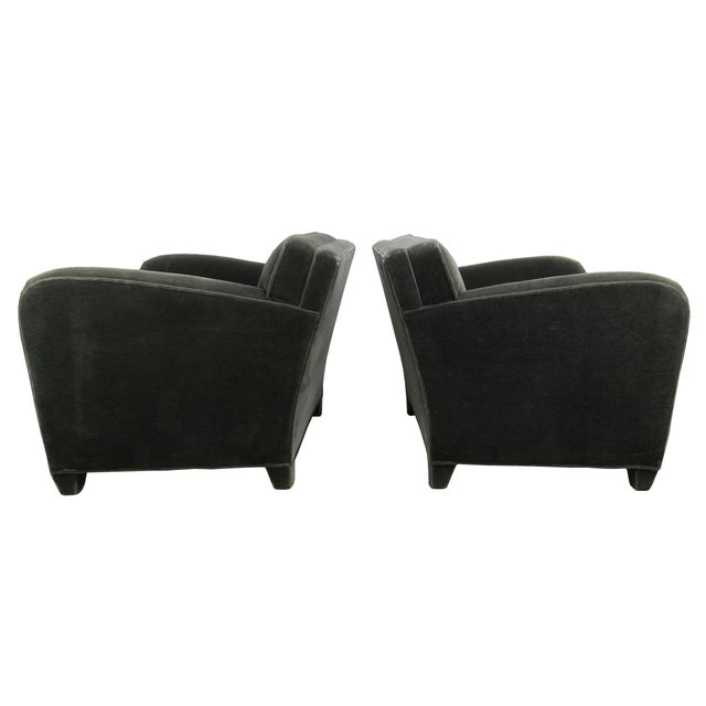 Donghia 1980s Donghia Art Deco Style Gray Mohair & Down Club / Lounge Chairs - a Pair For Sale - Image 4 of 13