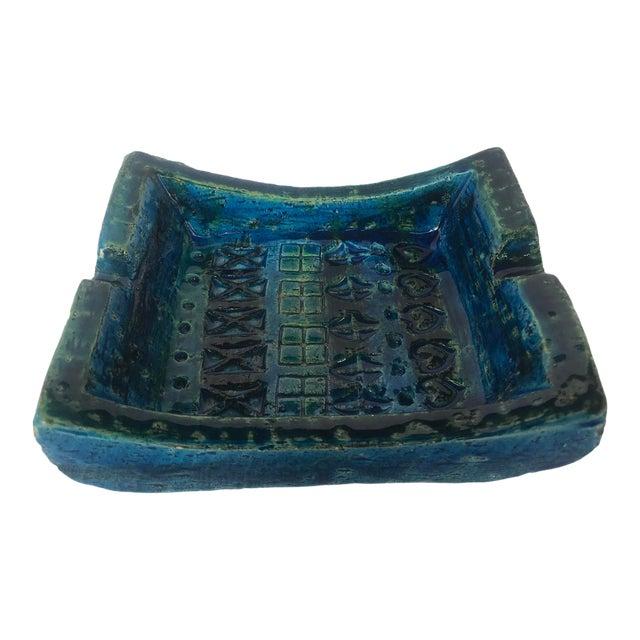 1960s Bitossi Rimini Blue Ashtray Platter Catchall Aldo London For Sale