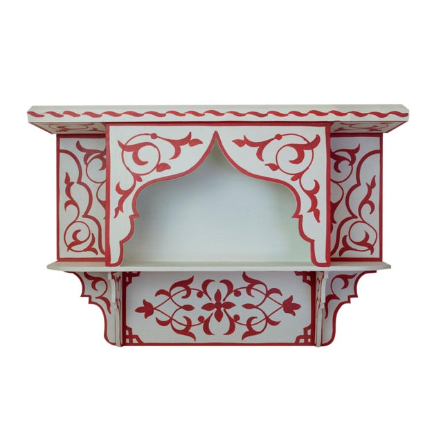 Red & White Moroccan Wall Shelf - Image 1 of 3