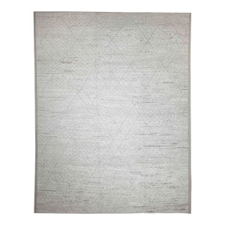 New Afghan Rug Moroccan Style With Gray Tribal Details on Ivory Field For Sale
