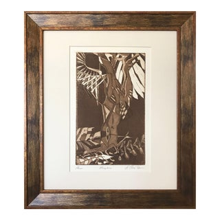 """Vintage Mid Century Artist Proof Abstract Etching """"Wingtree"""" 1972 For Sale"""