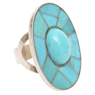 Sculptural Sterling Silver and Turquoise Ring For Sale