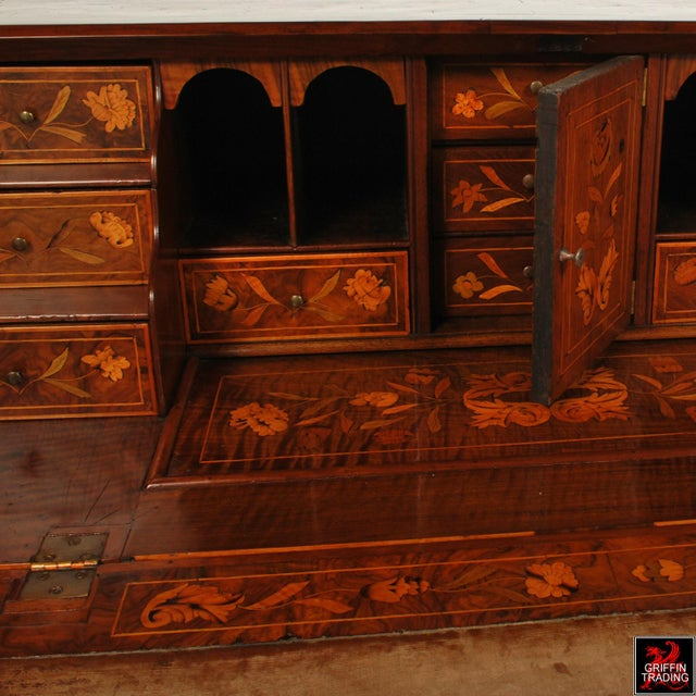 Gold Fine Dutch Marquetry Drop Front Secretary / Desk For Sale - Image 8 of 13