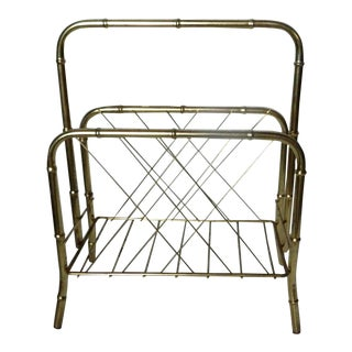 1960s French Brass Magazine Rack For Sale