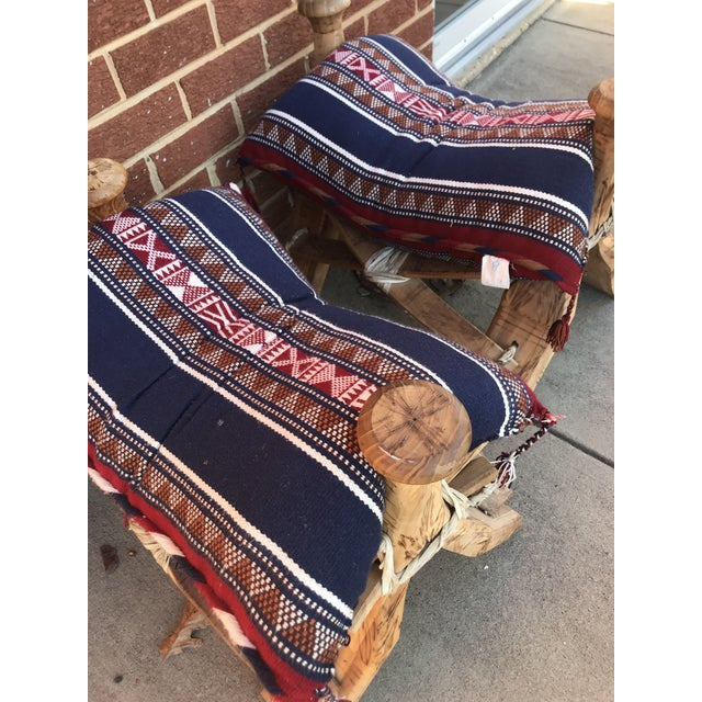 Modern Wooden Camel Saddle Benches- A Pair For Sale In Washington DC - Image 6 of 10
