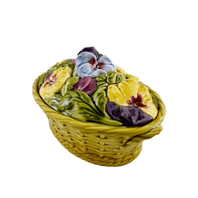 French Antique Sarreguemines Majolica Pansy Tureen French Faience Majolica Flower Tureen For Sale - Image 3 of 10