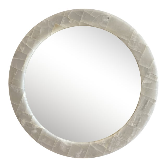 Natural Onyx Round Mirror For Sale