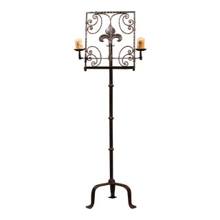 19th Century French Forged Iron Music Stand Lectern With Fleur-De-Lys For Sale